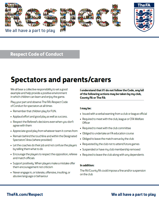 Respect - Spectators and parents/carers