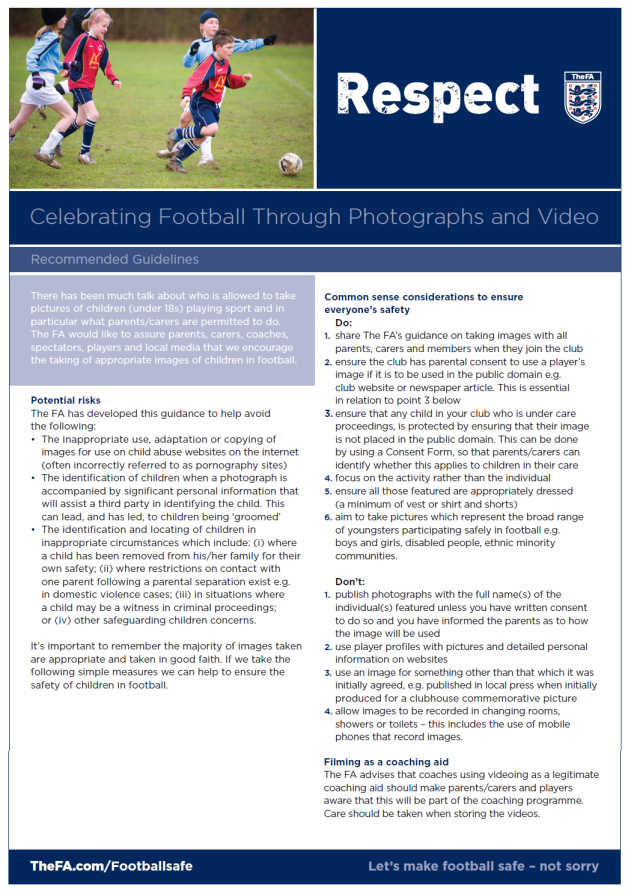 Celebrating football through photographs and videos -- guidelines (p1)