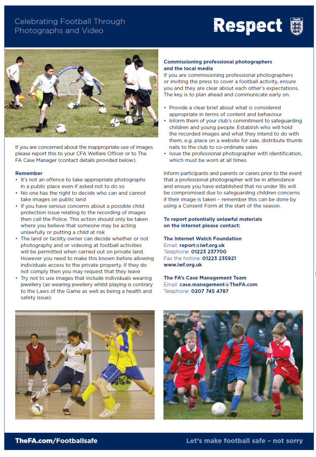 Celebrating football through photographs and videos -- guidelines (p2)