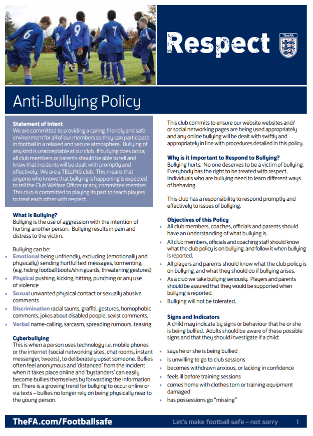 Stonnall Juniors FC - Anti-bullying policy (page 1). Adopted from the FA template.