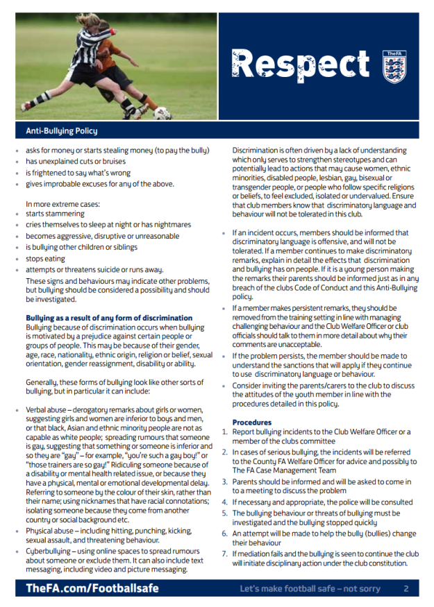 Stonnall Juniors FC - Anti-bullying policy (page 2). Adopted from the FA template.