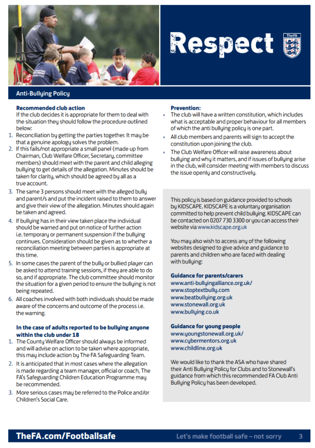 Stonnall Juniors FC - Anti-bullying policy (page 3). Adopted from the FA template.